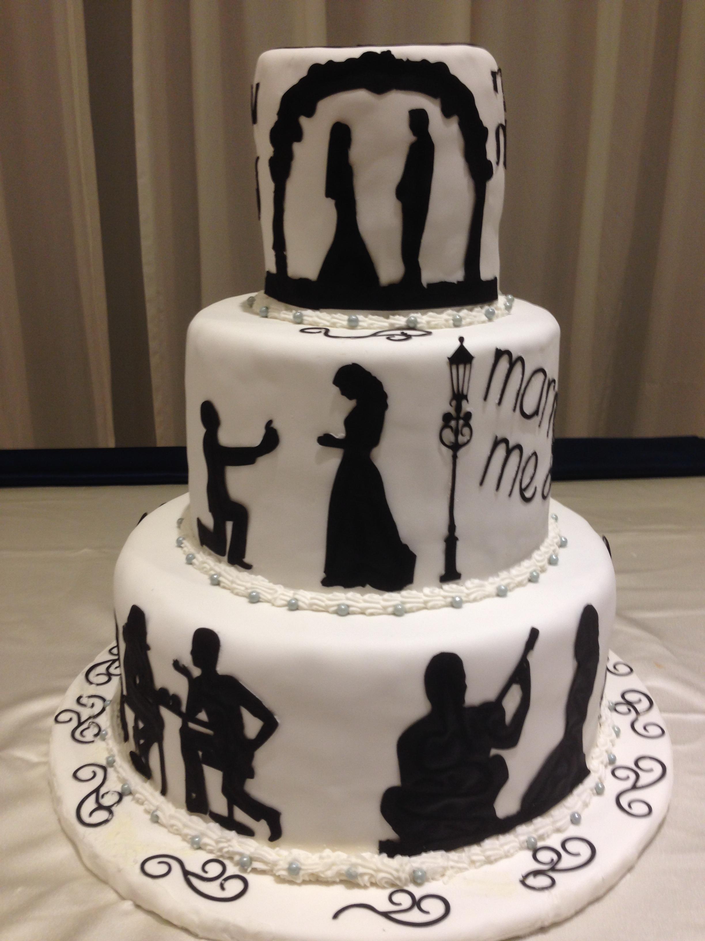 Love Story Silhouette Wedding Cake Temptations